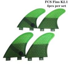 Surf FCS Fins K2.1 Honeycomb Fibre Surfboard Fin 4 Pieces in Per Set Quilhas pranchas de Green Colors Available