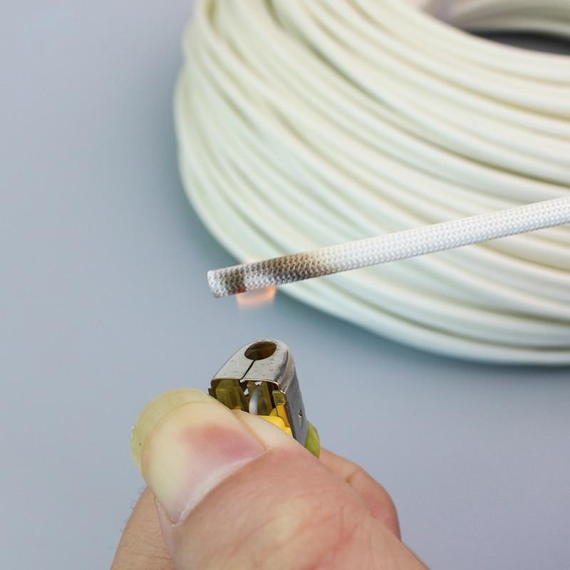 1M 600Deg High Temperature Braided Soft Chemical Fiber Tubing Insulation Cable Sleeving Fiberglass Tube 1-25mm Diameter