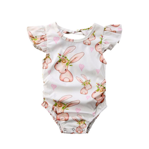 Newborn Baby Girls Bodysuits Cute Baby Short Sleeve Bunny Flower Bodysuit Outfit Clothes Fashion Baby Clothing