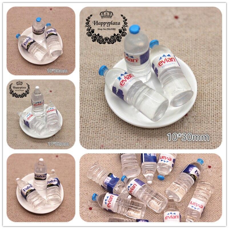 10pcs Kawaii Resin Simulation 3D Mineral Water Bottle Miniature Art Flatback Cabochon DIY Craft Decoration,10*30mm