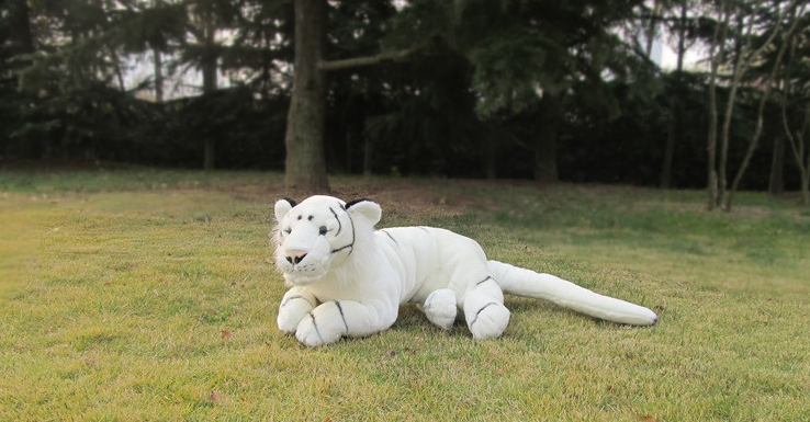 lovely plush white tiger toy simulation high quality tiger doll gift about 110cm 2758 stuffed animal 110 cm plush simulation lying tiger toy emulation yellow tiger doll great gift free shipping w400