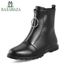 Купить с кэшбэком RAZAMAZA Plus Size 30-48 Women'S Fur Ankle Boots Winter Keep Warm Motorcycles Shoes Women Fashion Zipper Round Toe Flats Boots