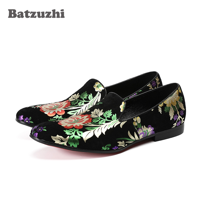Batzuzhi Men Loafers Leather Pointed Toe Business Dress Shoes Black Suede with Flowers Flats Shoes For Men Wedding and Party christia bella plus size brand embroidery men loafers pointed toe business wedding dress shoes suede leather party formal shoes