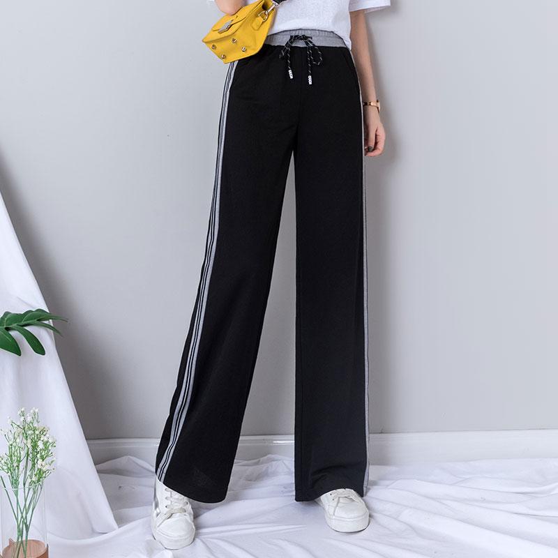 Black High Waisted   Wide     Leg     Pants   Women Elastic Waist Casual Loose Plus Size Sweatpants Capri Women Joggers Summer Trousers 2019