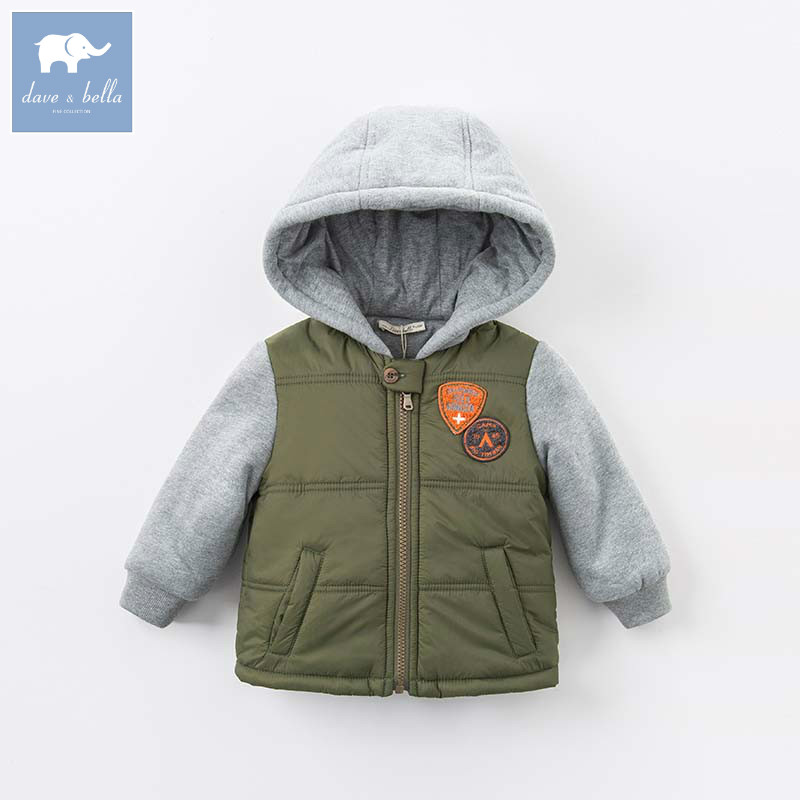 DB5423 dave bella winter infant baby boys fashion armygreen Jackets toddler Hooded outerwear children hight quality coats
