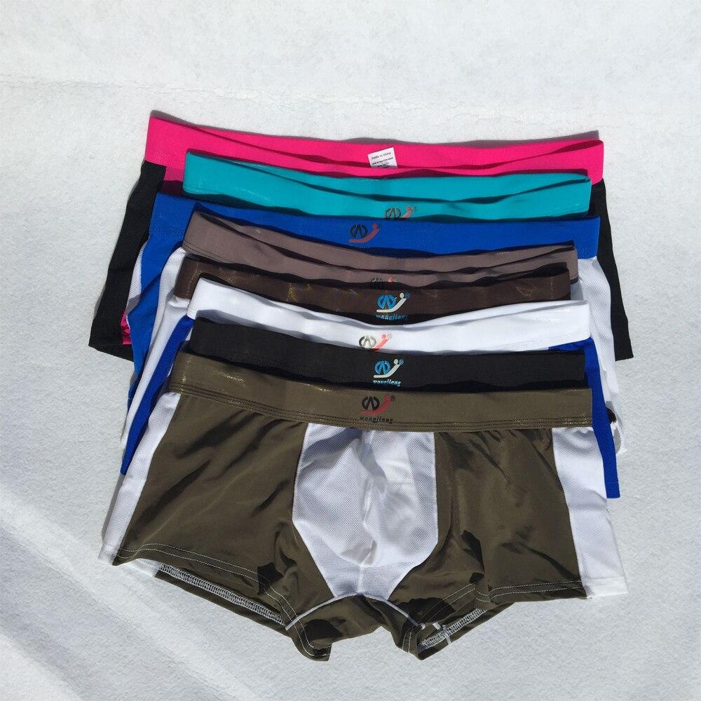 Men Boxers Underpants Breathable Mesh Silk Underwear Wholesale Panties N Spandex Mens Bodysuit Underwear Clearance Big Discount
