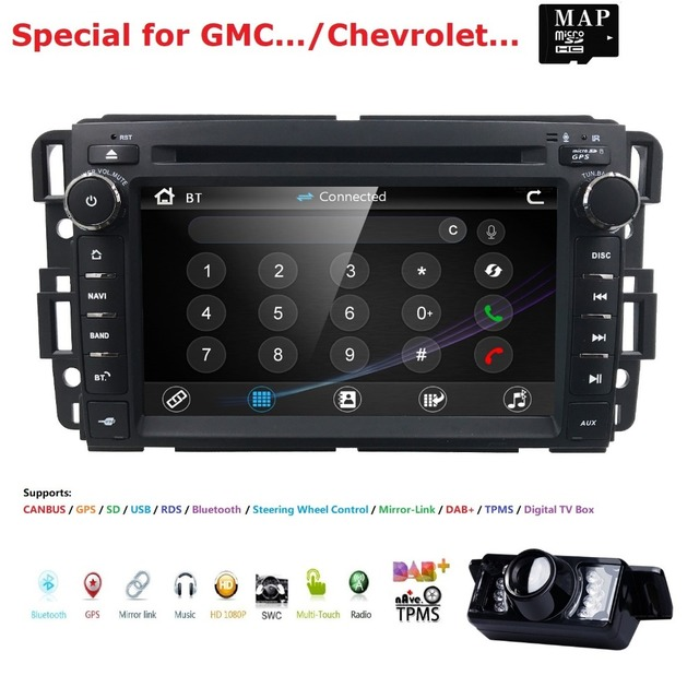 Car Stereo DVD Player For GMC Chevy Silverado 1500 2012 GMC Sierra 2011 2010 7''Double Din In Dash Touchscreen FM/AM Radio GPS