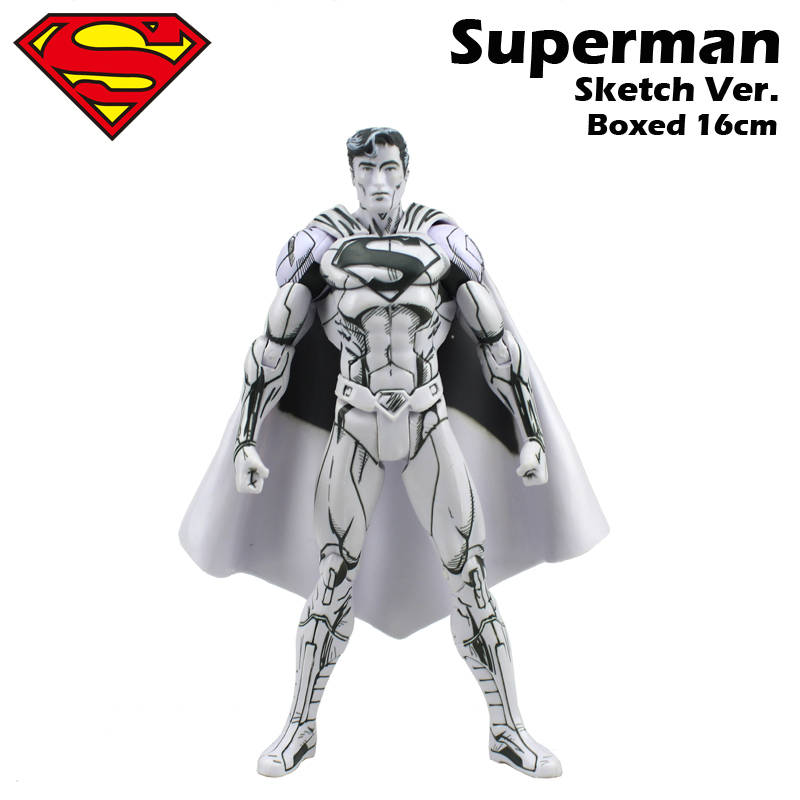 Free Shipping 6 DC Comic Super Hero Superman Super Man Sketch Ver. Boxed 16cm PVC Action Figure Collection Model Doll Toys Gift dc comics super heroes superman pvc action figure collectible model toy gift for children 7 18cm free shipping