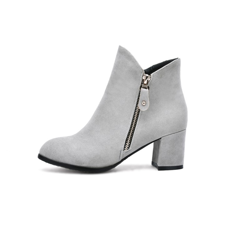ENMAYER 2018 Sexy Woman Boots Metal Round Toe Boots Women Shoes Woman High Heels Square Heels Platform Ankle Boots CL007