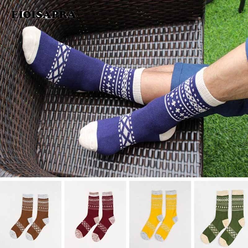 [EIOISAPRA]Japan Harajuku National Wind Socks Striped Patchwork Socks Men Antiskid Breathable Casual Meias Comfort Funny Socks