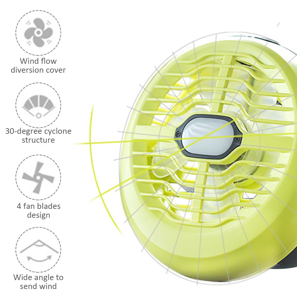 Outdoor Camping Tent Fan Light Portable USB Rechargeable LED Fan Light Lantern Multi-function Tent Lamp Include Battery