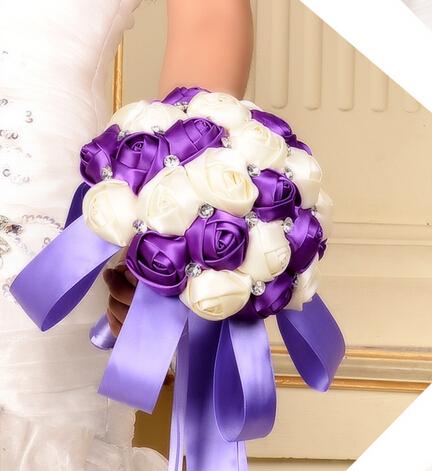2017 Barato de La Boda/Ramo de Novia de dama de Honor Púrpura y Rosa Blanca Hecha A Mano ramo de la Flor Artificial Ramos de mariage boda