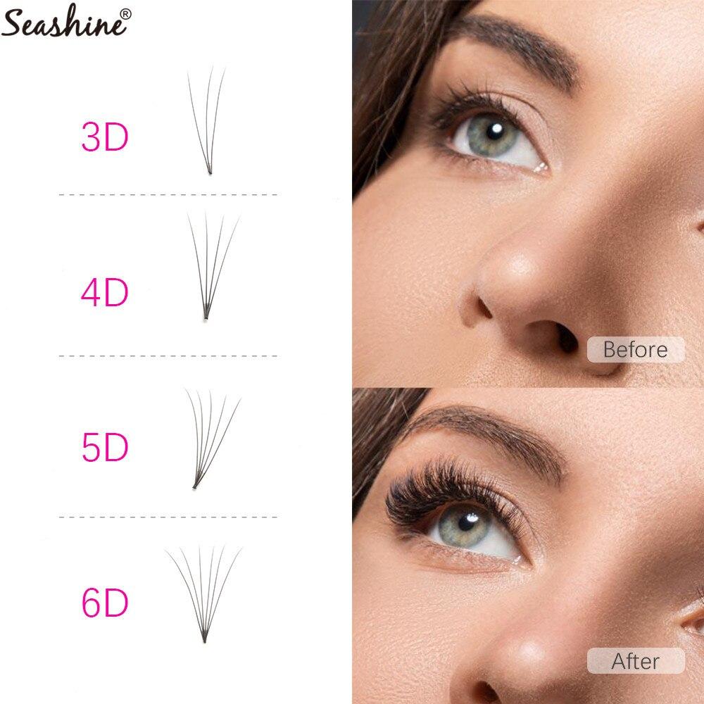 Seashine 1 Tray Short Stem Russian Volume Lash Extension Premade Fans 3D 6D 8 15mm Mink Eyelashes Extension Supplies Premade Fan in False Eyelashes from Beauty Health