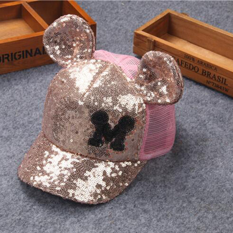 2017 Summer baby Hat Baseball Cap Sequins Bling Hinning Mesh Cap Adjustable Fashion Girls boys Hats Snapback children Casual cap