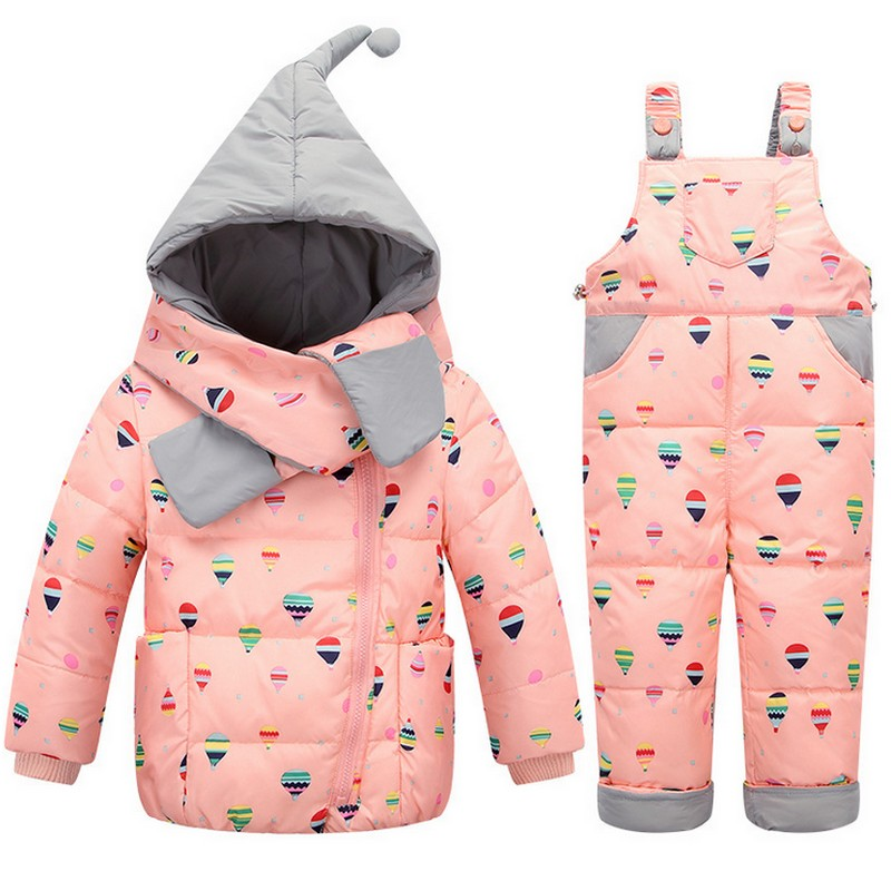 2016 Baby white Down outwear Jacket Suit Set Toddler Quality Down Coat Pants Sets Boys Girls