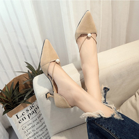 spring and summer pointed single shoes female shallow mouth stiletto high heels pearl cat with hollow sandals fashion women's