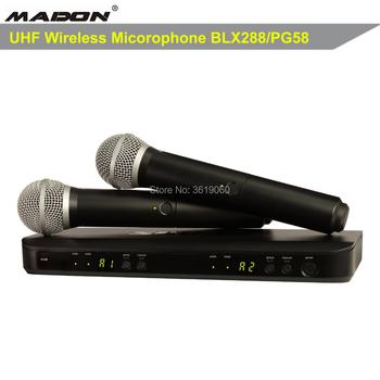 Darmowa wysyłka BLX88 PG58 BLX288 profesjonalny mikrofon bezprzewodowy UHF PLL true diversity podwójny mikrofon bezprzewodowy tanie i dobre opinie MADON Mikrofon ręczny Dynamiczny Mikrofon Scen Mikrofon Bezprzewodowy Dopasowane Pary Dookólna wireless BLX288 PG58 black