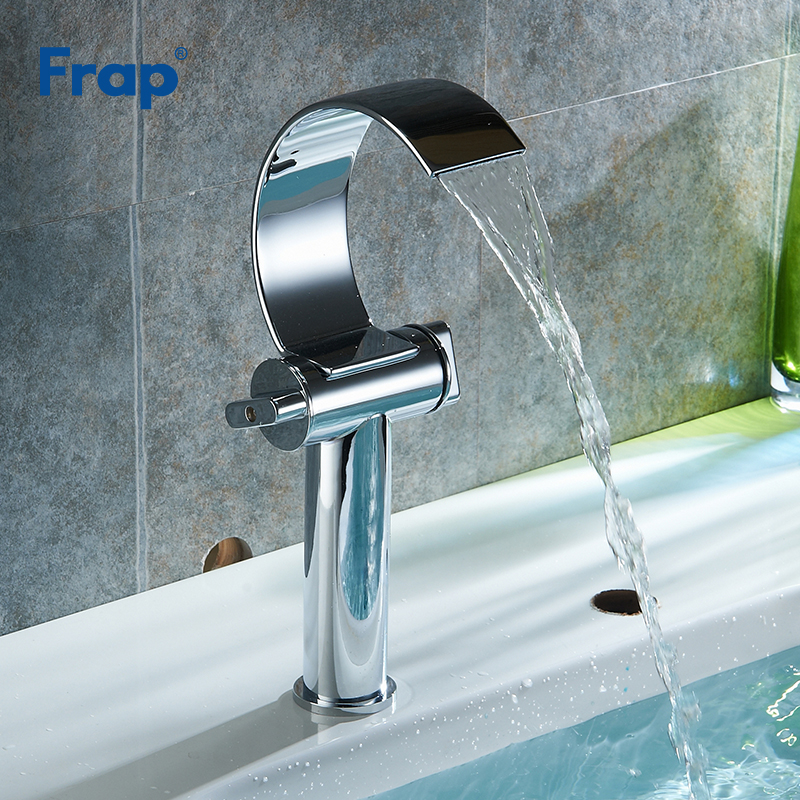 Frap New Waterfall Brass Basin Faucet Deck Mounted Single Lever Single Hole Cold&Hot Bathroom Kitchen Basin Mixer Tap Y10150 bathroom widespread chrome waterfall brass sink faucet cast deck mounted single lever single hole basin tap cold