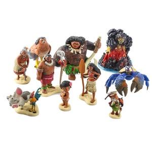 Image 4 - Disney Movie Vaiana Moana 10pcs/set Cartoon Princess Maui Chief Tui Tala Heihei Pua Action Figure Decoration Toys For Childrens