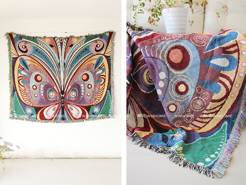Bedding Home & Garden Home Fabric Sofa Cover Towel Wall Tapestry Cushion Cotton Woven Carpet 120cmx160cm Butterfly