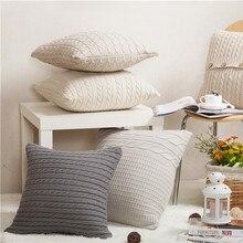 Wool Pillowcase Retro European Style Wool Knit Plain Cushion without Core