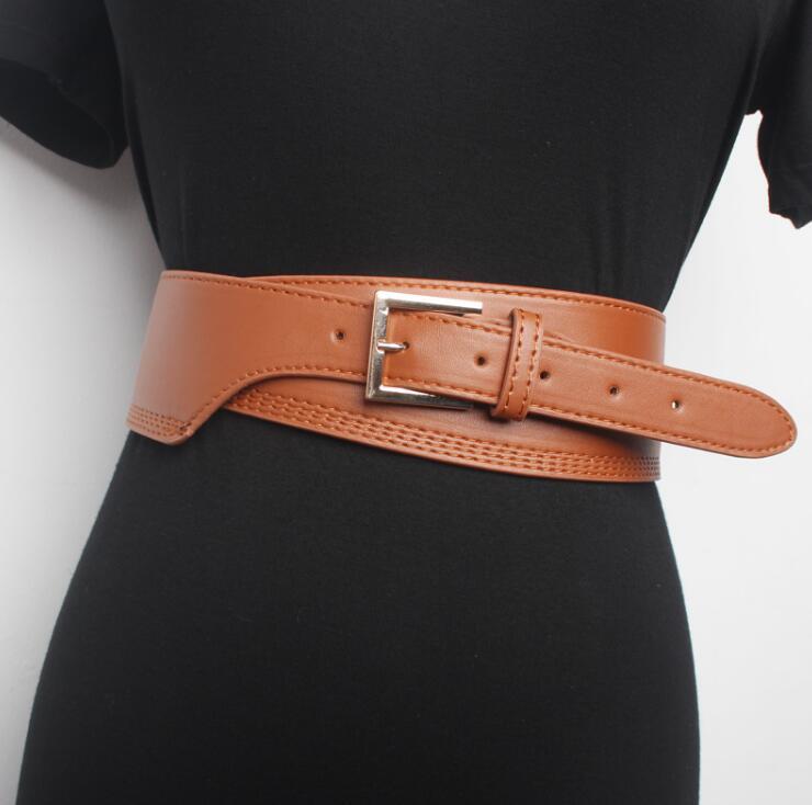 Women's Runway Fashion PU Leather Cummerbunds Female Dress Corsets Waistband Belts Decoration Wide Belt R1539