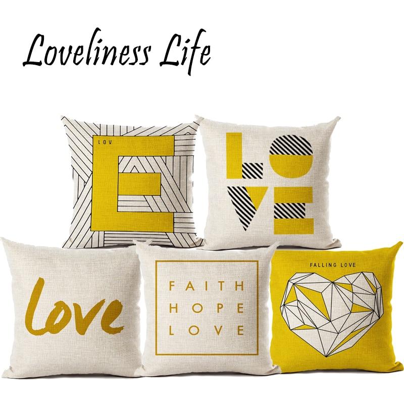Fodera per cuscino giallo Love Fodera in cotone Sedia in lino giallo - Tessili per la casa