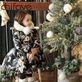 Chifave 2016 Girls Winter Warm Coat Ropa Niños Niñas Niño de Manga Larga de Cuello de Piel Outwear Floral Niñas Bebés Chaqueta