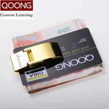 QOONG Custom Lettering Stainless Steel Three Colors Money Clip Holder Slim Pocket Cash ID Credit Card Metal Clips Wallet 40-010