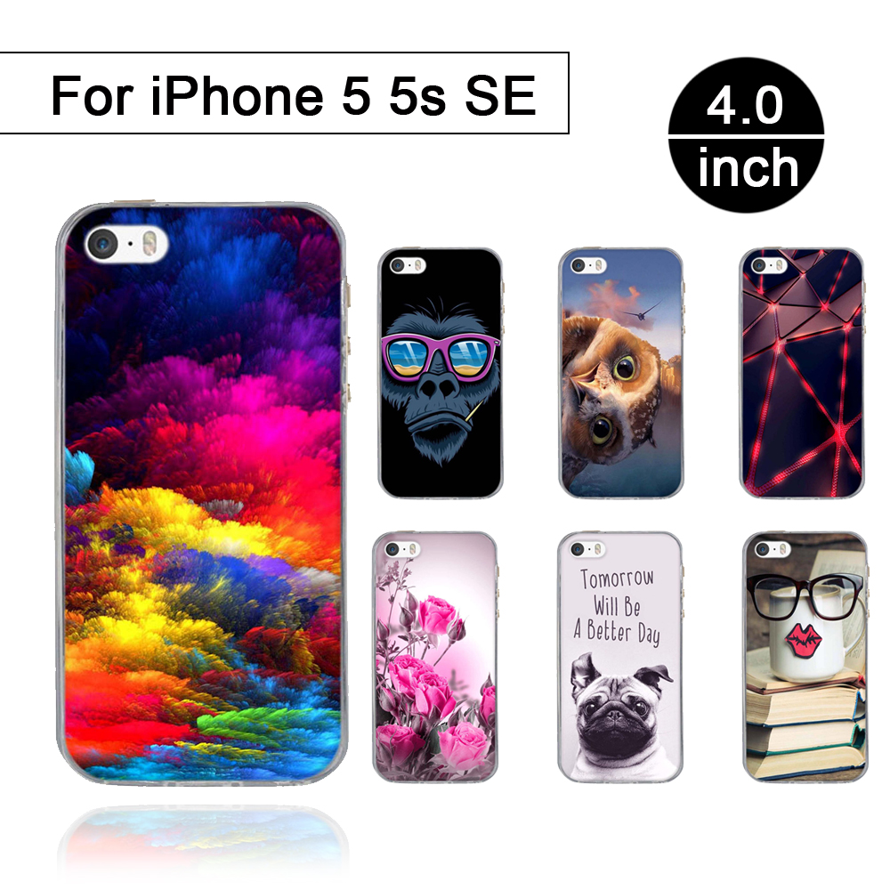 Luxury Soft Case For Apple iPhone 5 5S TPU Silicone Case for iPhone SE 5 5S 3D Printed Cartoon full Protective Back Cover Coque