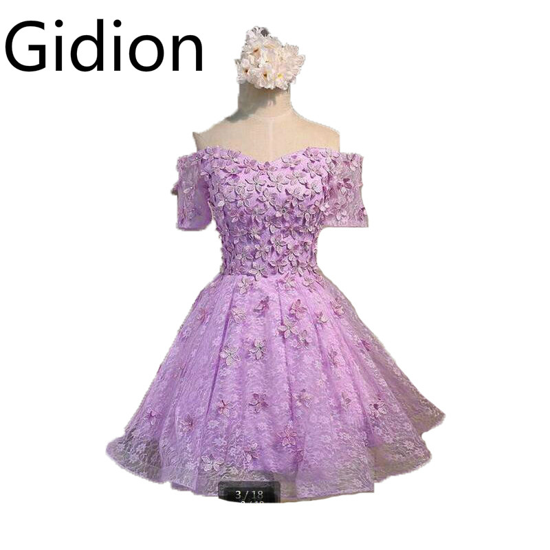 2017 Saudi Arabia stylish real a line lavender lace short bridesmaid dress sexy off shoulder informal reception bridesmaid gowns