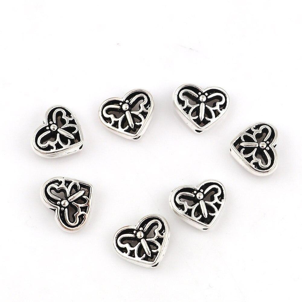Doreen Box цинковый сплав разделительные бусины сердце Античная Серебряная бабочка 12 мм (4/8 «) мм x 10 мм (3/8»), отверстие: мм Приблизительно 1,8 мм, 50 шт.