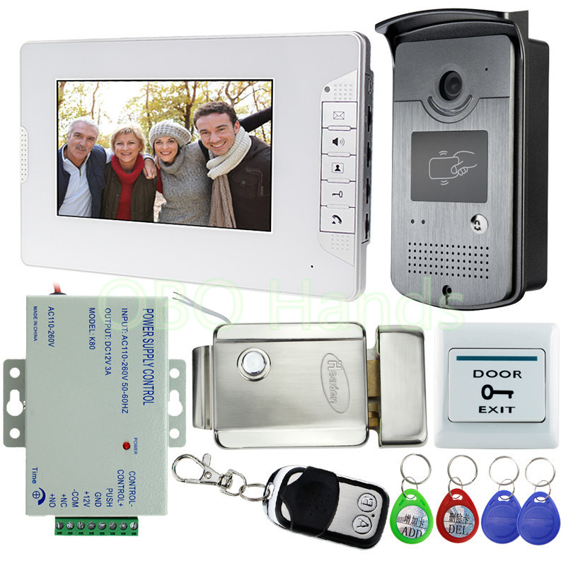 New Wired 7 Video Door Phone Intercom Entry System 1 Monitor 1 RFID Access Camera Electric