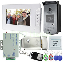 New Wired 7″ Video Door Phone Intercom Entry System 1 Monitor + 1 RFID Access Camera + Electric Lock For Apartment Free Shipping
