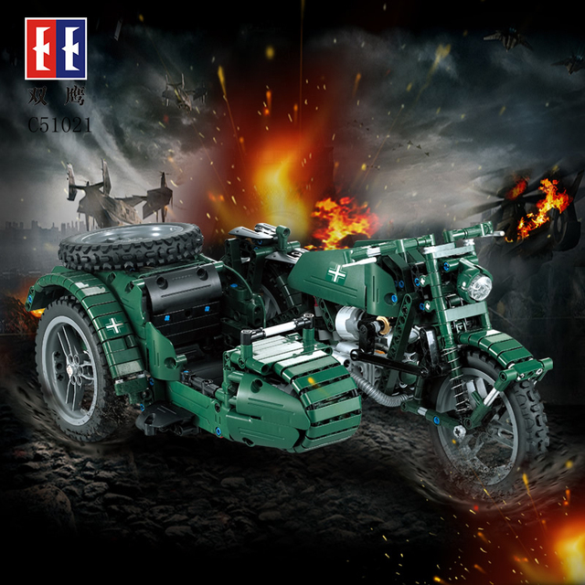 C51021 C51022 World War II Motorcycle Technic Military Remote Control RC Legoings Building Block