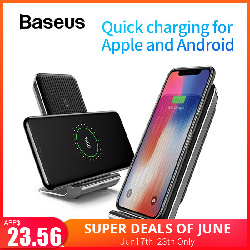 Baseus 10W Qi Wireless Charger Pad for iPhone X Xs Max 8 Quick Wireless Charging Stand with Cooling Fan for Samsung S9 S8 Note 9Baseus 10W Qi Wireless Charger Pad for iPhone X Xs Max 8 Quick Wireless Charging Stand with Cooling Fan for Samsung S9 S8 Note 9