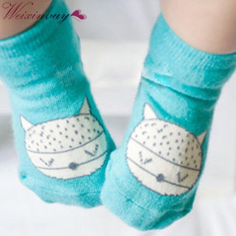 df48e0d6e1f7a Animal Bebê Infantil Bonito Fox Impresso Algodão Macio Anti-slip Socks 0-4Y  Nova Chegada