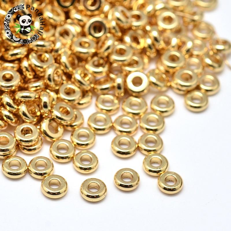 500pcs 3 Colors 4x2mm Environmental Brass Flat Round Loose Metal Finding DIY Bead Spacer Lead Free