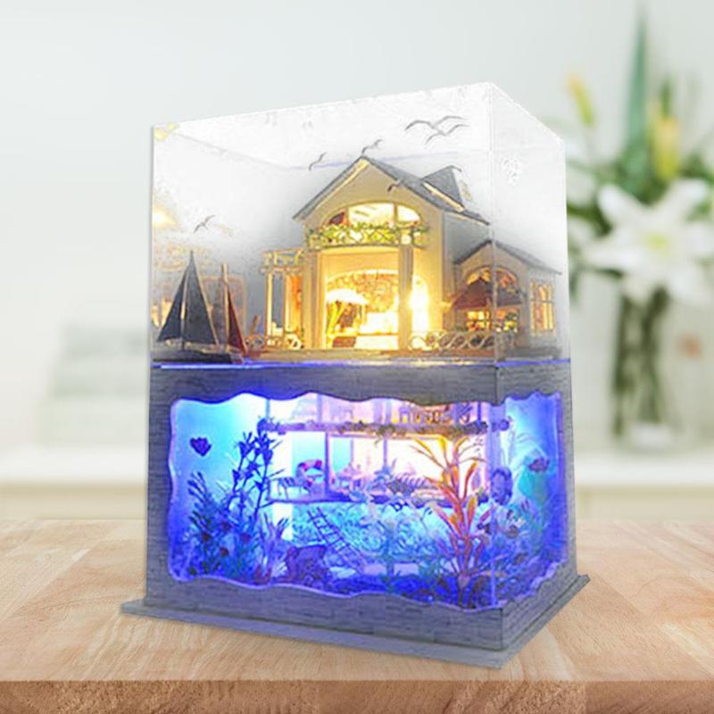 Image 5 - Villa Doll House Furniture LED Light DIY Wooden Mini Dollhouse Assemble Toy Doll Props Creative DIY Wooden House Toys Doll HouseDoll Houses   -