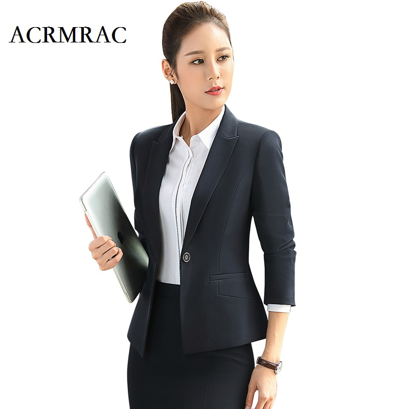ACRMRAC Women Formal wear Long sleeves Solid color Slim OL Formal Pants Suits business attire