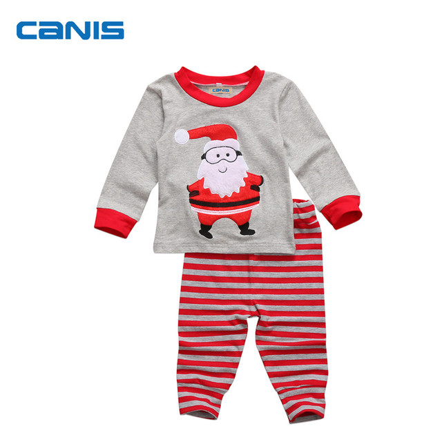 Christmas Toddler Kids Baby Boy Girl Cartoon Long Sleeve Santa Claus Top  Striped Pants Sleepwear Nightwear Pajamas 2pcs Set 2-7T 3745e5e5c