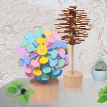 Wooden Helicone Magic wand Stress Relief Toy Rotating lollipop Creative Art decoration for Home Office decompression boy girls