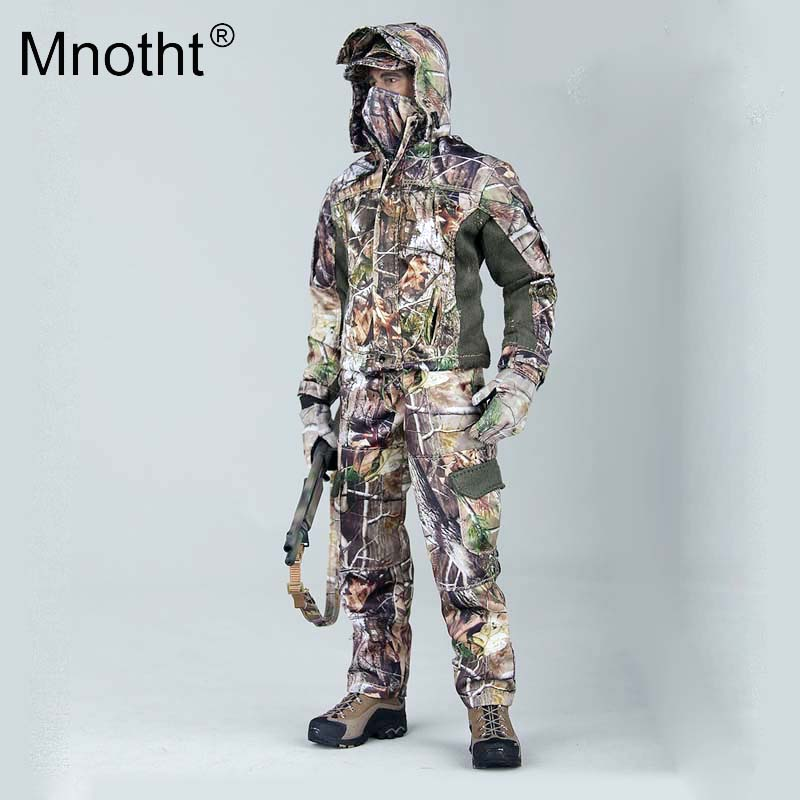 Mnotht 1:6 Hunting Camouflage Complete Suit Clothes Camo Jacket Pants Belt Long-Sleeve Tee Cap Facemask Gloves Gunsling Model m3 cap sleeve solid tee