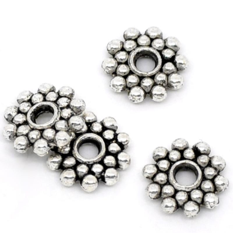 200Pcs Silver Flower Spacer Beads Findings 7x7mm Crafts Beads Jewelry