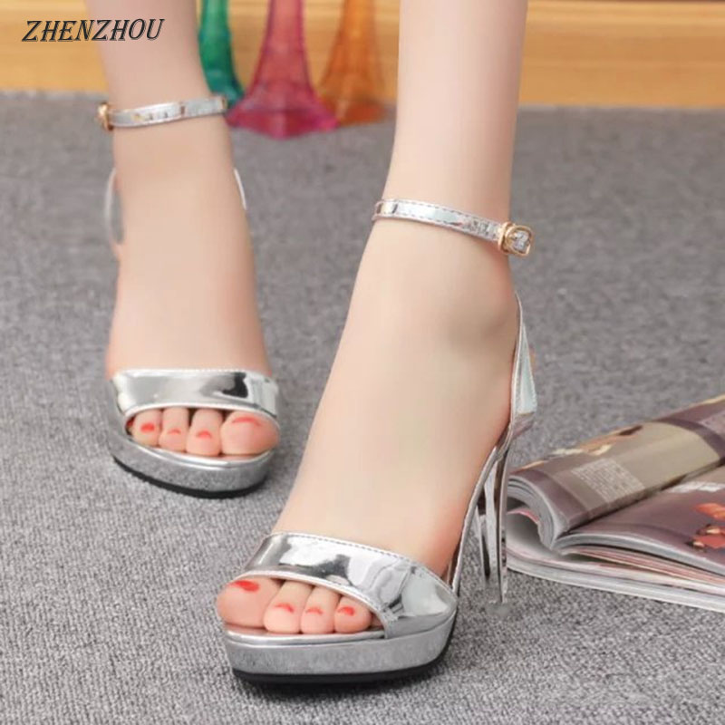 Free shipping 2018 Summer woman Sandals sexy waterproof platform silver button women's shoes super high heels club fish-mouth цена