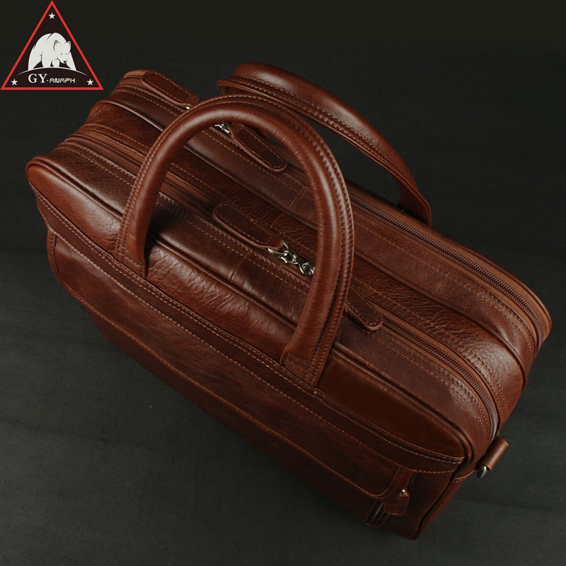 ANAPH Luxury Men's Real Cow Leather Briefcases For Men 15 Inch Laptop Bag Men Office Work Bags Large Capacity Top Quality Wine anaph 15 inch laptop briefcase men office work bags brown real cow leather top quality tote bag man double zippers open