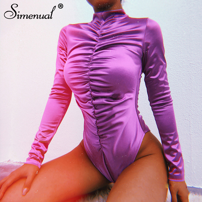 Simenual Turtleneck bodysuits long sleeve ruched rompers womens   jumpsuits   sexy purple overalls solid slim bodysuit 2019 spring