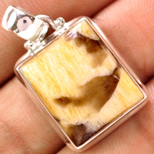 Hand made Genuine Graphic Japser Pendant, 100% 925 Sterling Silver , 34mm , 7.2g,  AP0362