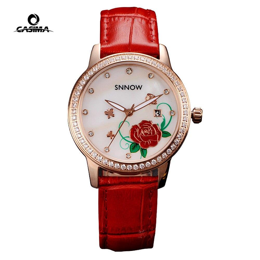 นาฬิกาแบรนด์หรูใหม่นาฬิกาผู้หญิง Elegance Casual Ladies นาฬิกาข้อมือควอตซ์นาฬิกาสายหนังสีแดงนาฬิกาผู้หญิงกันน้ำ 50 เมตร #6602-ใน นาฬิกาข้อมือสตรี จาก นาฬิกาข้อมือ บน AliExpress - 11.11_สิบเอ็ด สิบเอ็ดวันคนโสด 1