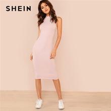 5e4cd2a55f653 SHEIN Pink Mock Neck Rib Knit Plain Pencil Dress Women Stand Collar  Sleeveless Slim Dress 2018 Elegant Going Out Bodycon Dress
